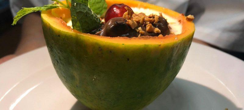 La perla de papaya con turrón, un plato tan delicioso como sostenible